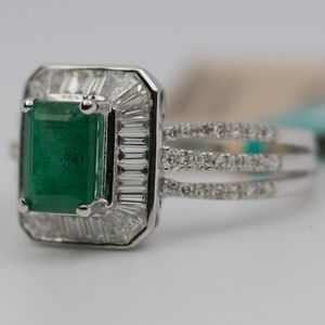 EFFY 14k White Gold Emerald With Diamonds Ring